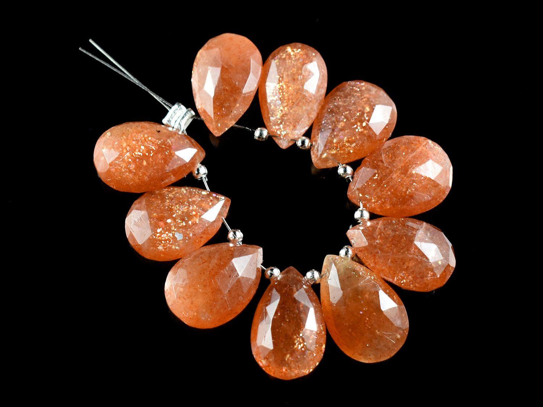 Natural Sunstone Briolette Sunstone Faceted Briolette Sunstone Pear Briolettes Sunstone Beads Sunstone Gemstone 9 Inch Strand 8-16 MM #GB38