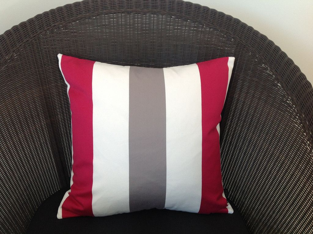 Red White Grey Cushion Small