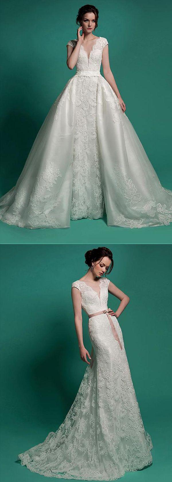 Marvelous Lace V-neck Neckline 2 in 1 Wedding Dresses | Mag Bridal ...