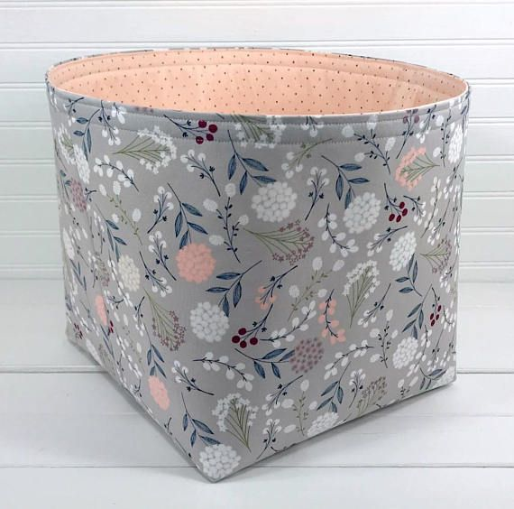 Boho Storage Basket, Organizer Storage Bin, Floral Baby