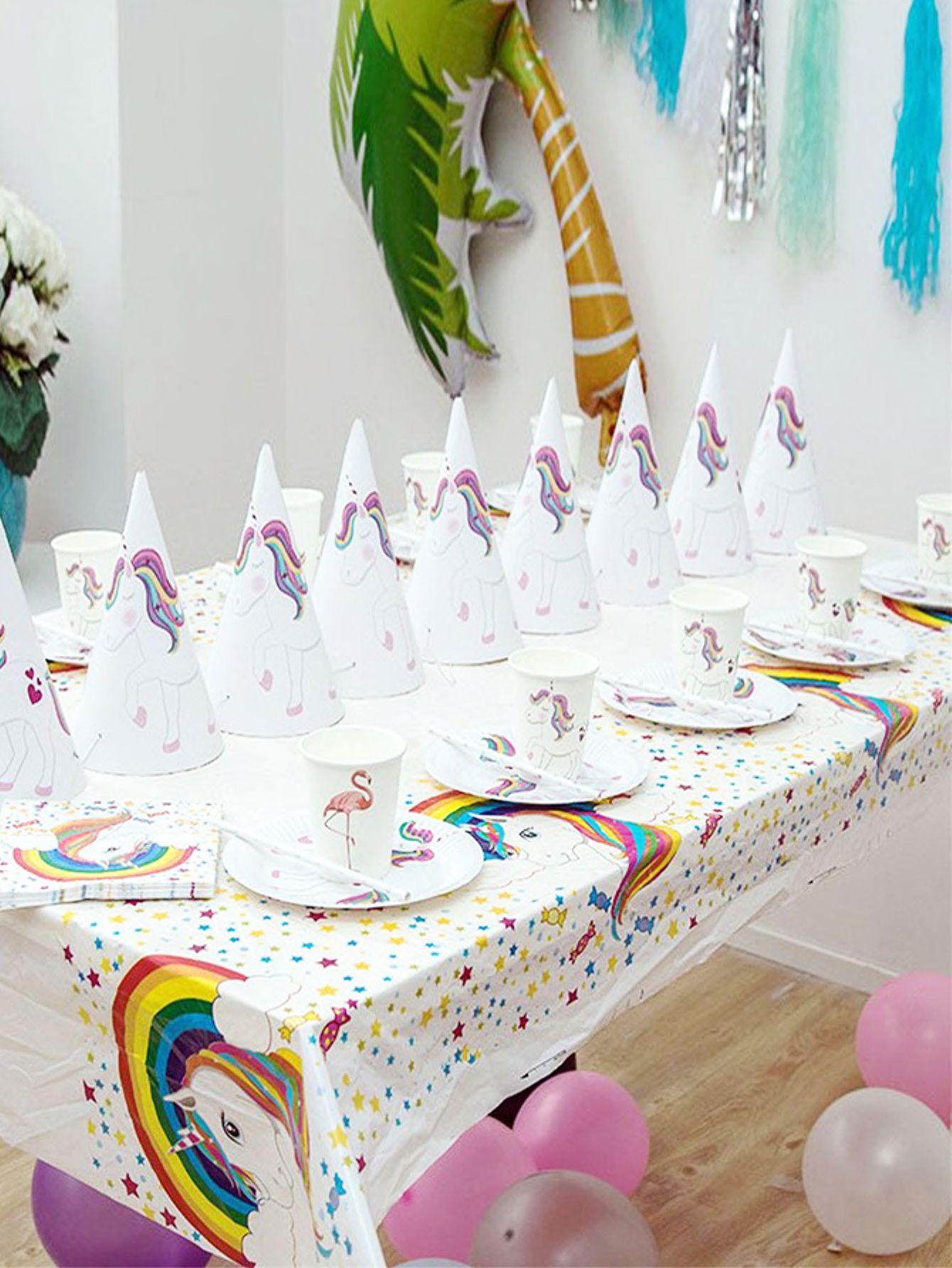 قطعة واحدة مفرش طاولة قابل للتصريف وبطباعة وحيد القرن تحقق من هذا قطعة واحدة مفرش طاولة قابل للتصري Party Table Cloth Unicorn Theme Party Diy Party Decorations