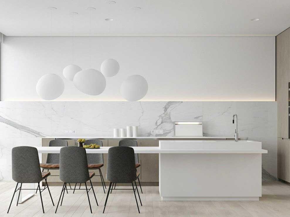 Kuchenruckwand Aus Marmor Mit Grober Maserung Weiss Grau Kitchen