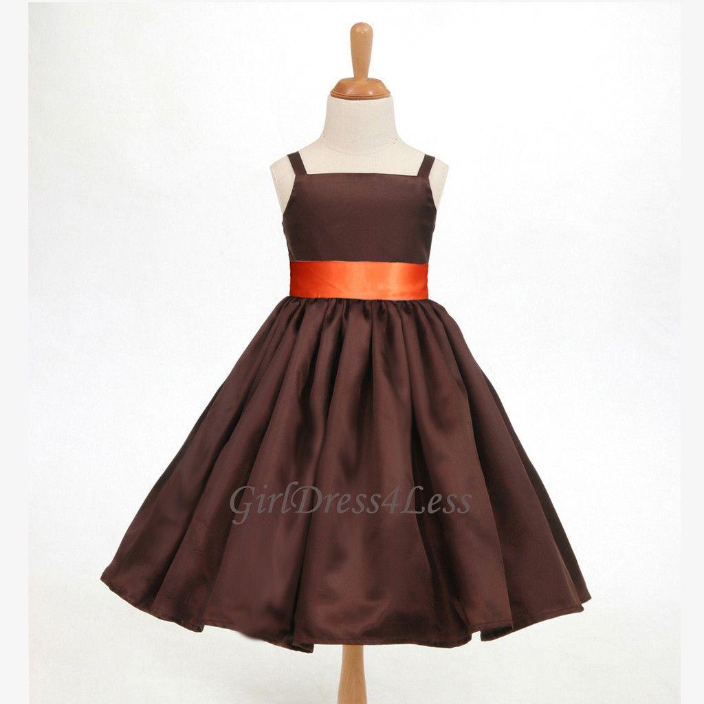 Camo and orange wedding dresses  Brown chocolate spaghetti straps bridesmaid flower girl dress m