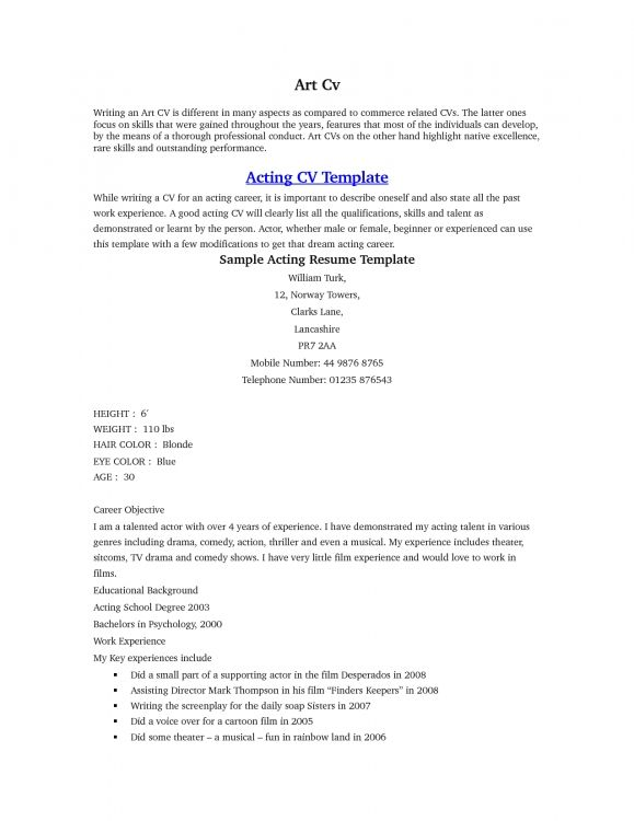 acting resumes resume builder templates pgblr sample free format - acting resumes