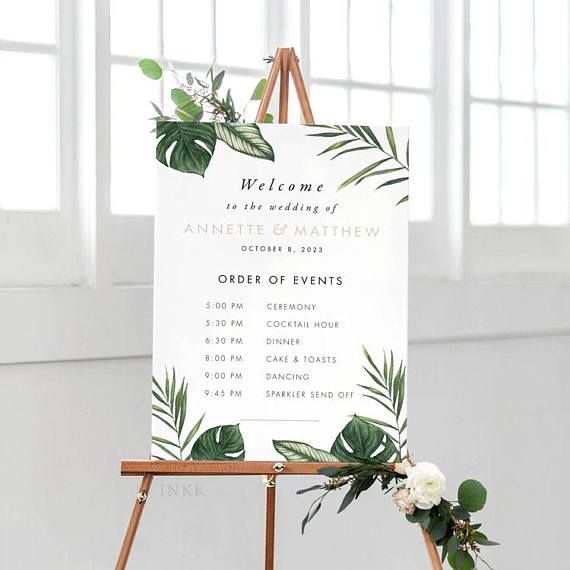Tropical Order Of Events Welcome Sign, Order of Events Signage, Order of Events Sign, Custom Wedding Sign PDF - (Item code: P1063)