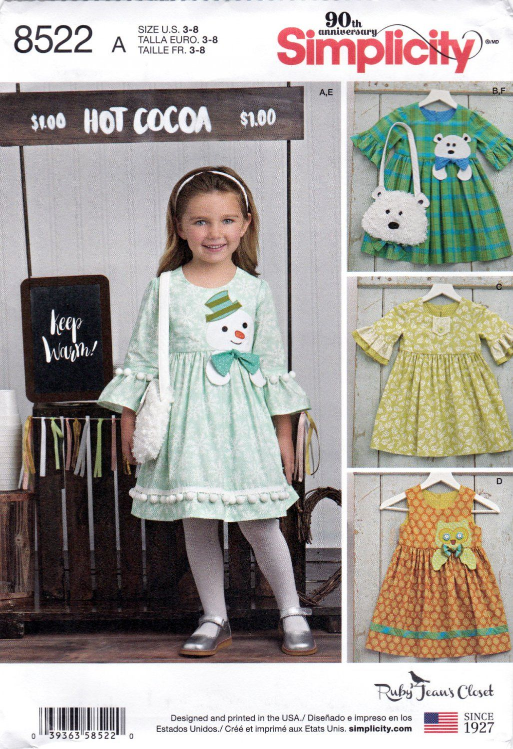 Simplicity 8522 Girls Sewing Pattern Childrens Dresses Purses Ruby ...