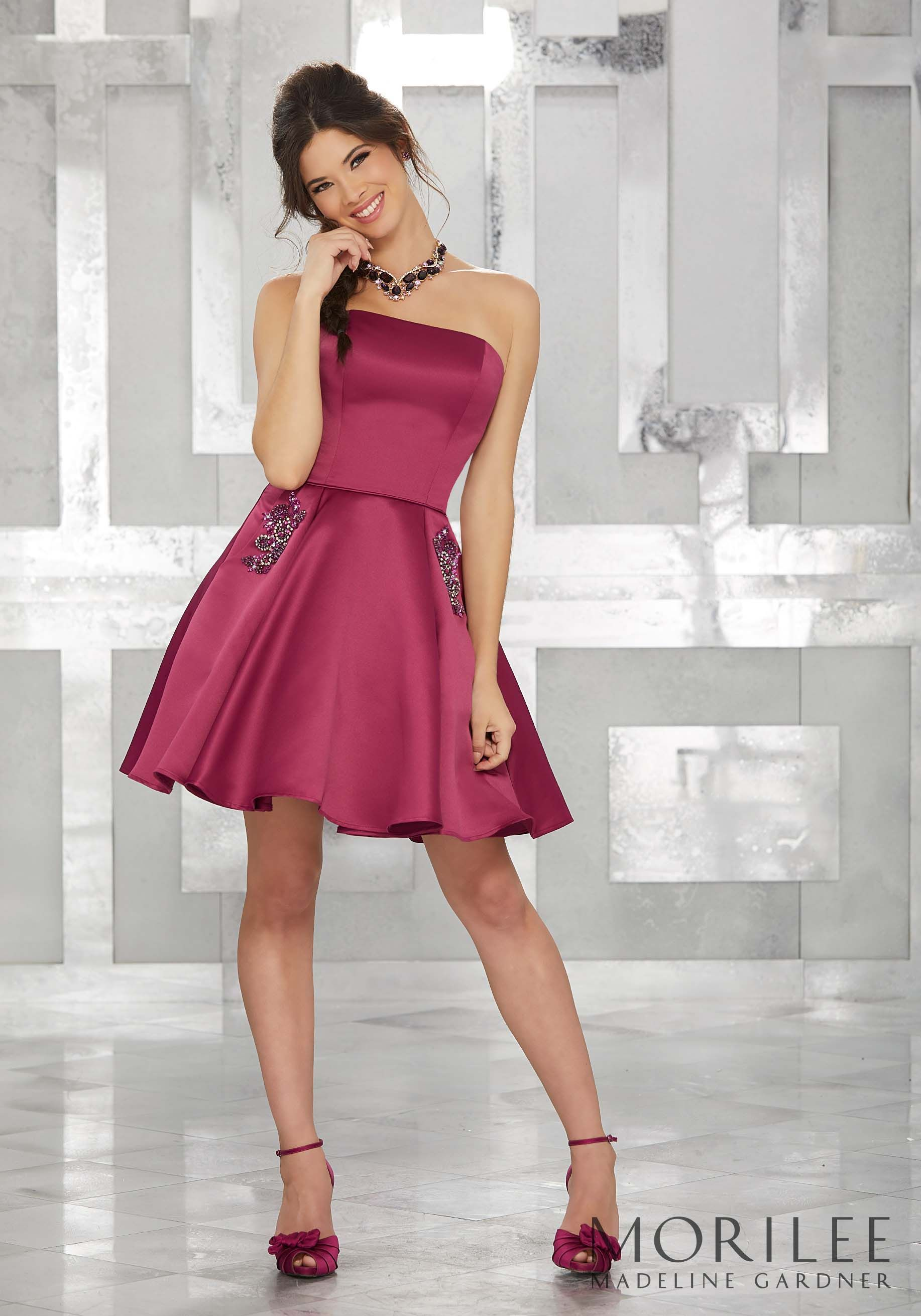 Pink Satin Strapless Party Dress With Beaded Pocket Detail Colors Available Red Black Cherry Black Champagne Aqua Blush Navy Coral Isabelle Princesse [ 2620 x 1834 Pixel ]