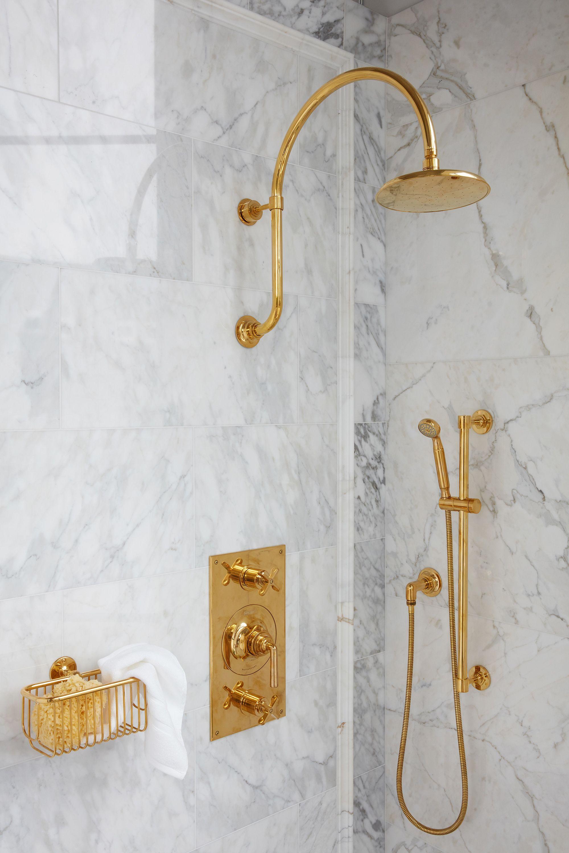 Henry Shower Fittings In Unlacquered Brass Brass Bathroom Faucets Marble Bathroom Modern Shower Design