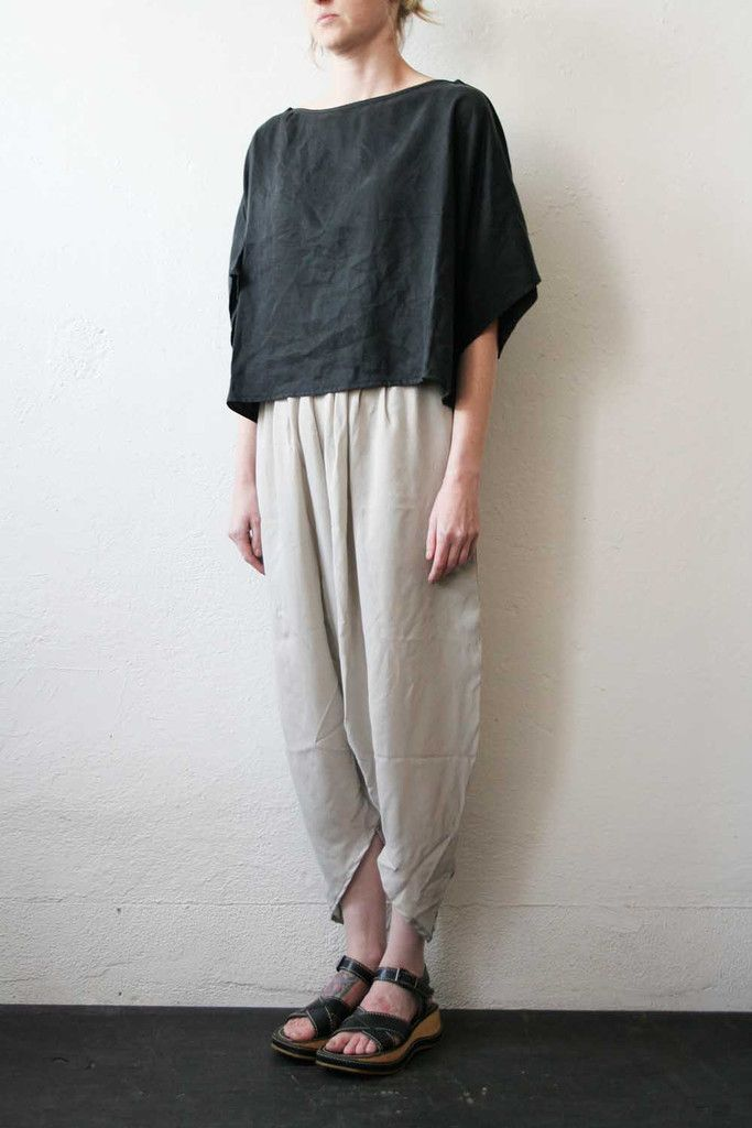 Cropped Boat Neck Top Twill