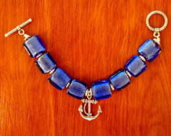 Anchor Bracelet with Cobalt Blue Glass by SpecialbySusan on Etsy