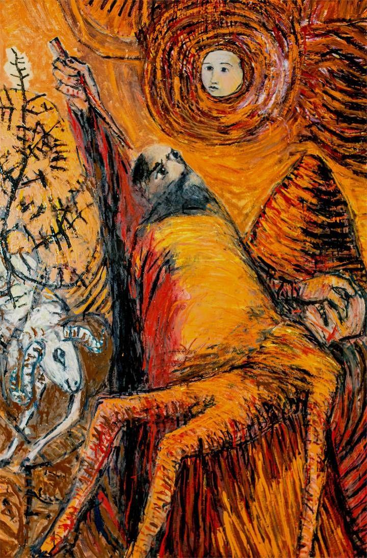 Sacrifício de Isaac, Pintura Painel Grande formato original por ...