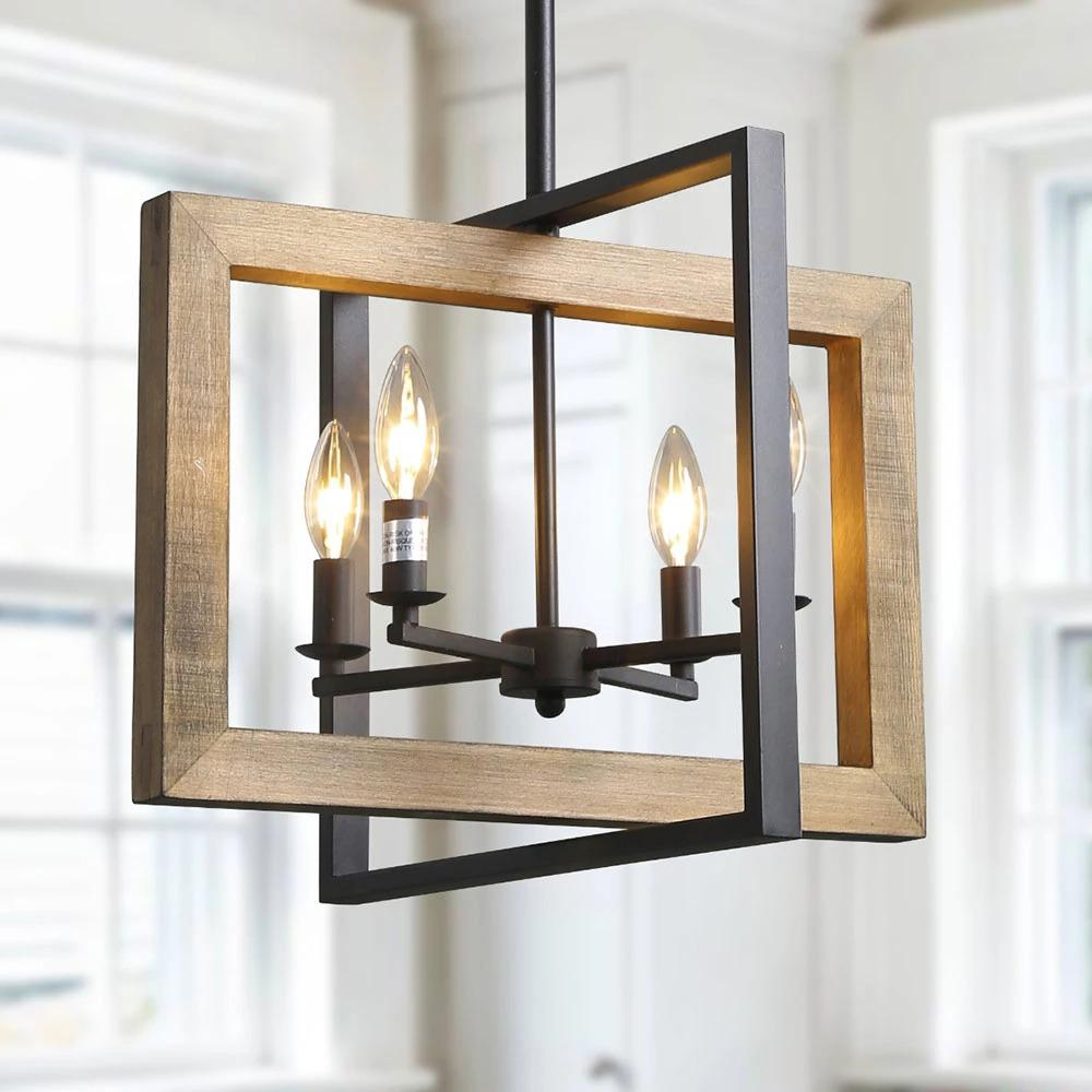 LNC 4Light Black Geometric Wood Candelabra Chandelier