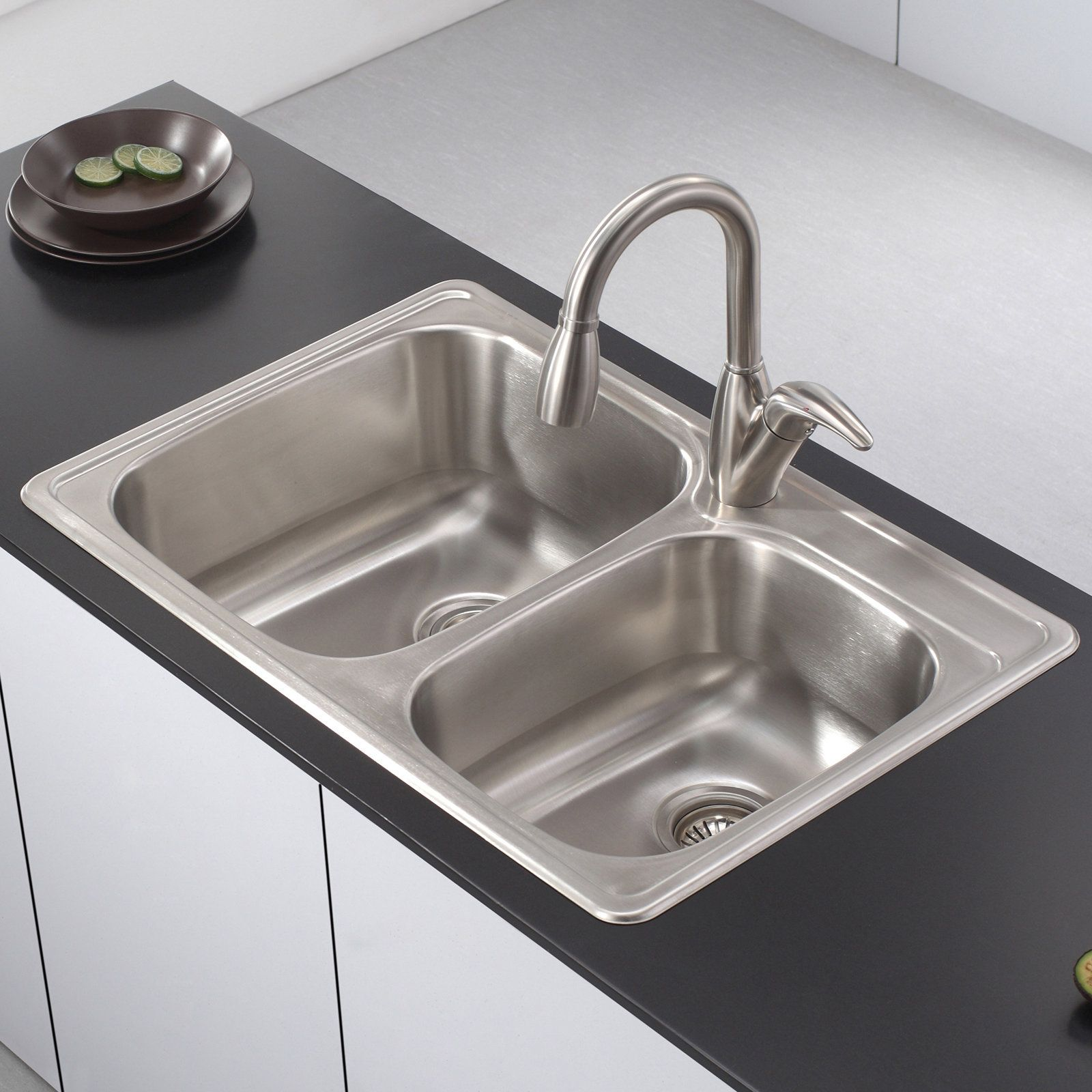 Kitchen Sink 33 L X 22 W Double Basin Drop In Kitchen Sink With