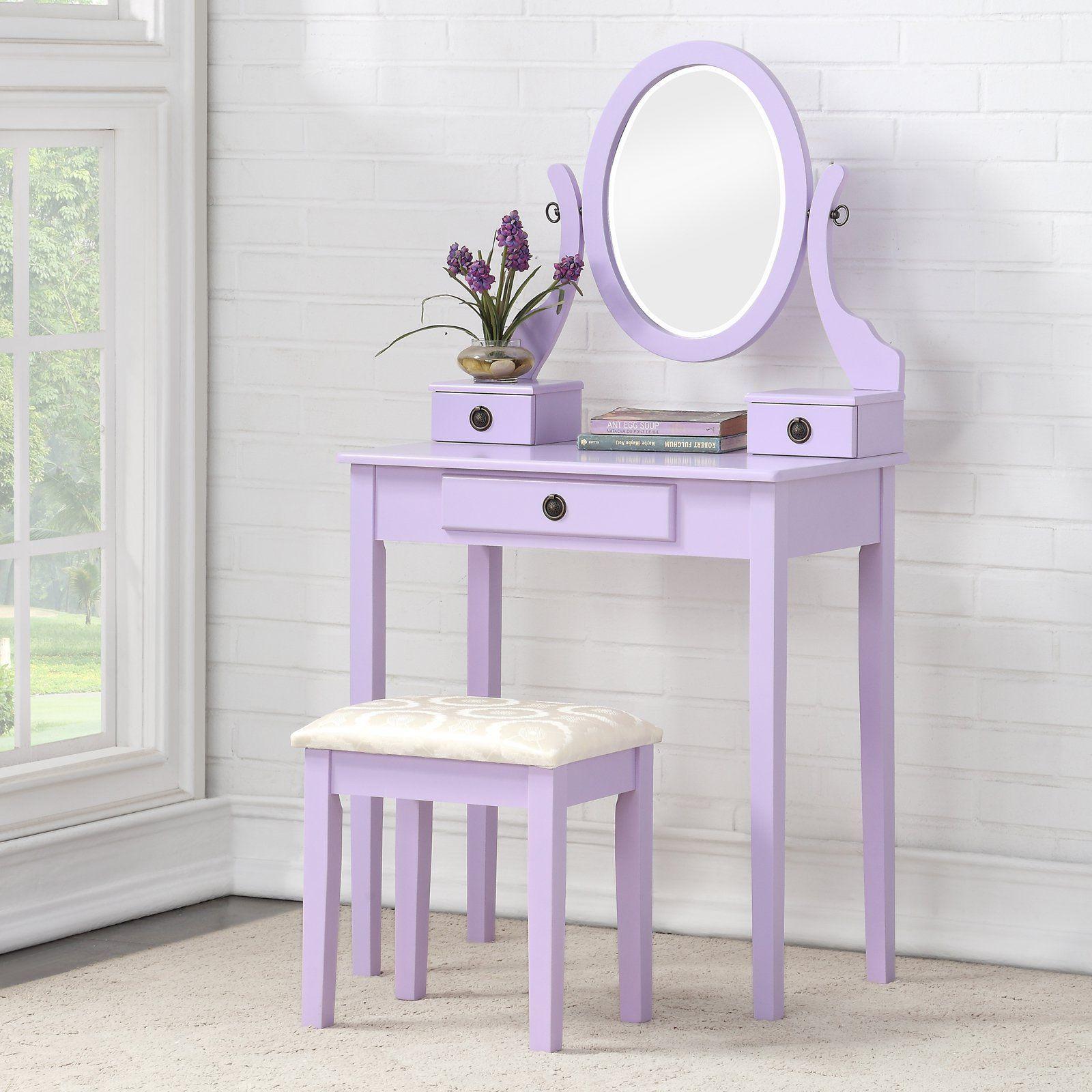 Roundhill Furniture Moniya Wooden Bedroom Vanity and Stool ...