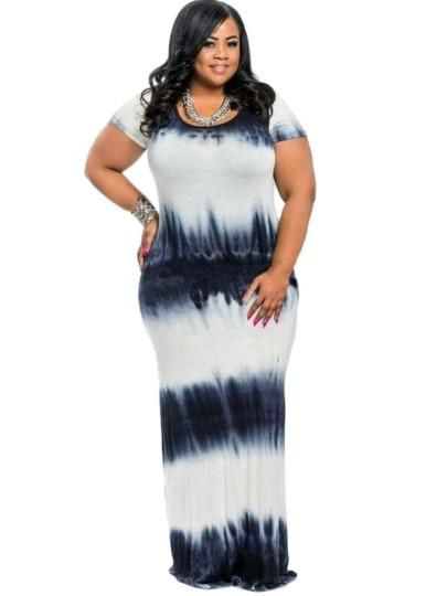 cf0c89e05ae Plus Size Short Sleeve Gradient Women s Maxi Dress