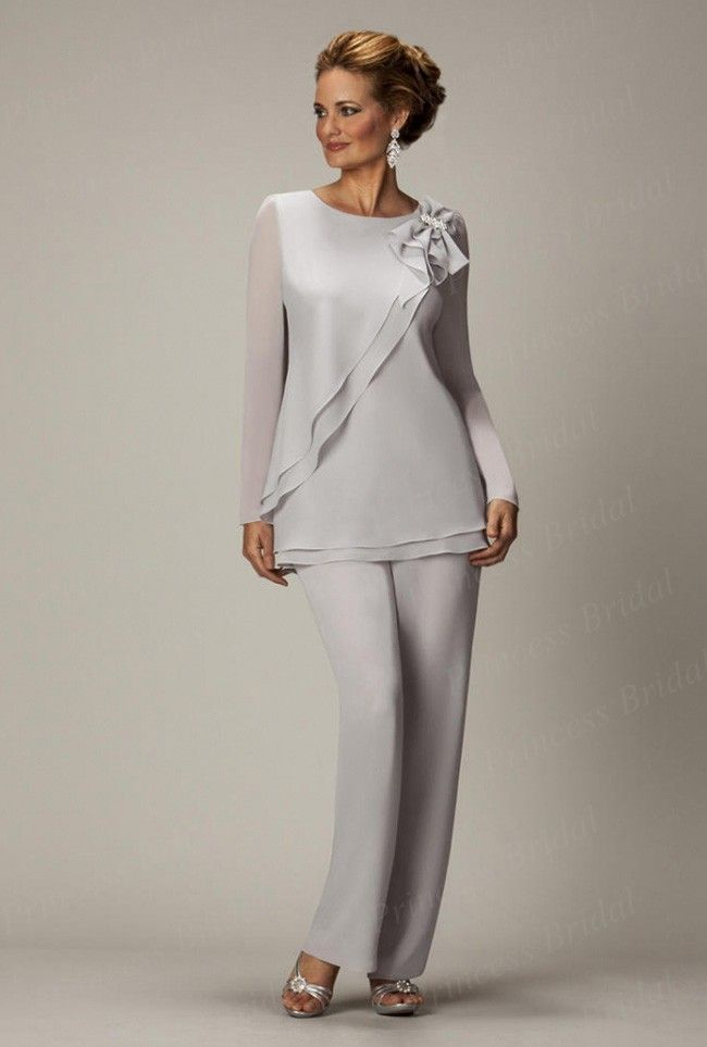 17f208328cf Free Shipping Chic Hottest Style Custom Made Chiffon Plus Size Long Sleeve  Mother Of The Bride Pant Suits With Bow MP010 US  168.00 THIS IS DIFFERENT!!