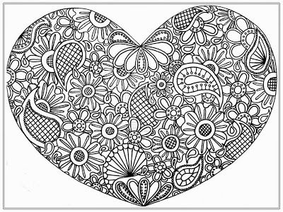 Big Heart Coloring Pages Display