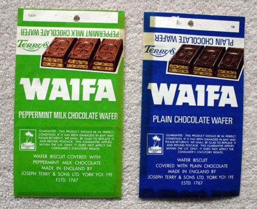 WAIFA x 2 VARIETIES - 1970'S TERRY'S OF YORK BRITISH Chocolate Candy Bar Wrapper