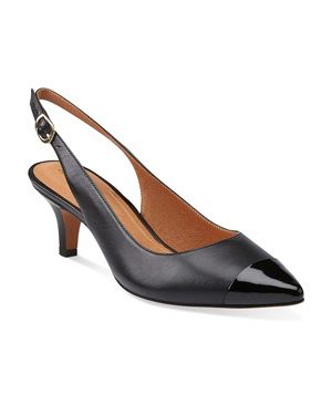 ebf542cf9575 6 Comfortable Work Shoes Clarks Sage Hallie Heels Low-profile slingbacks  get a style boost from a sleek silhouette and patent-leather details.