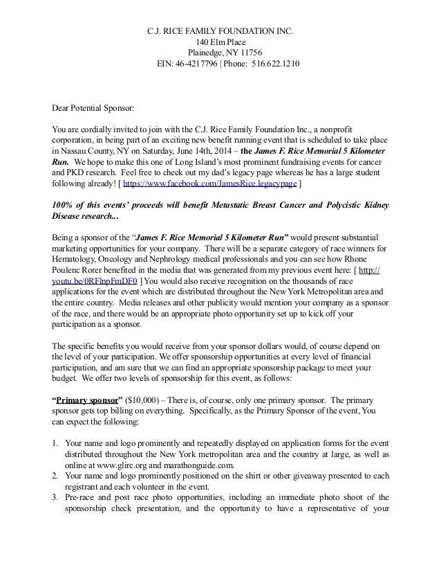 Sponsorship Letter By Christine J Rice MbaCpc Via Slideshare