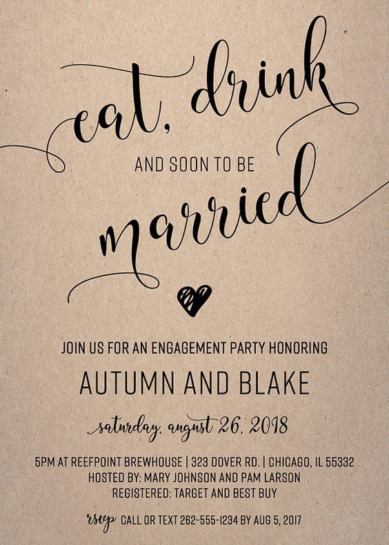 Engagement Invitations | Engagement Party Invites | Eat, Drink and Soon to be Married | Craft | Kraft | Black and White | Engagement Invites