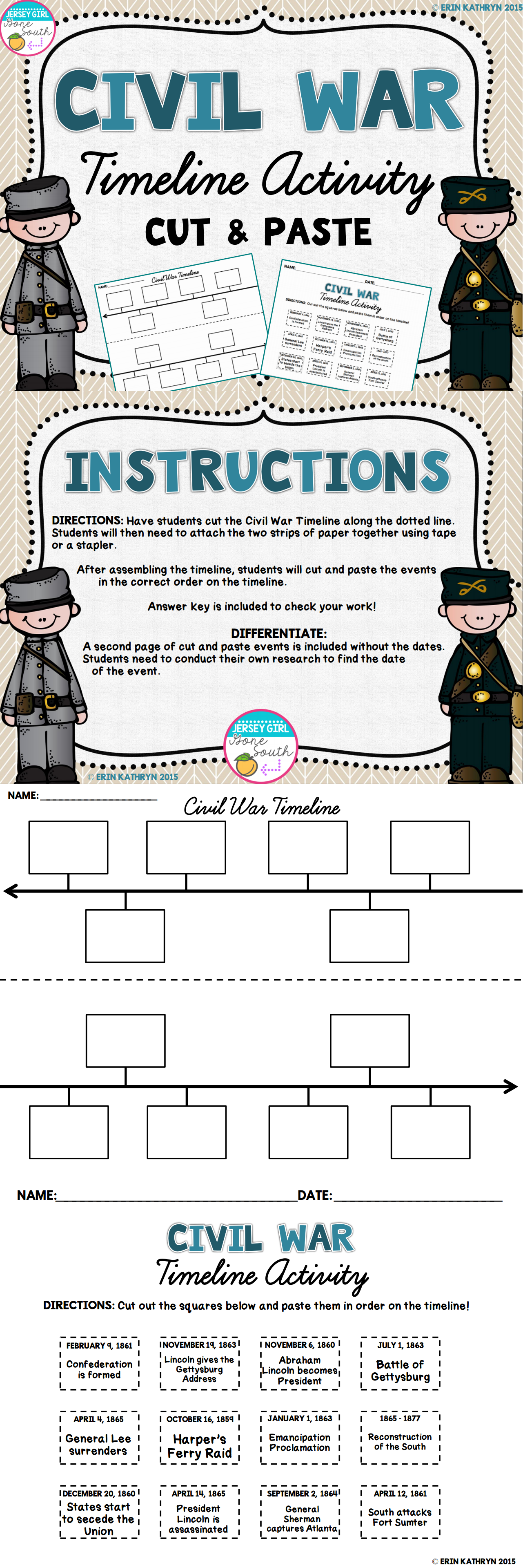 Worksheets Civil War Timeline Worksheet civil war timeline activity teaching ideas pinterest this is an awesome way for students to visually see the events