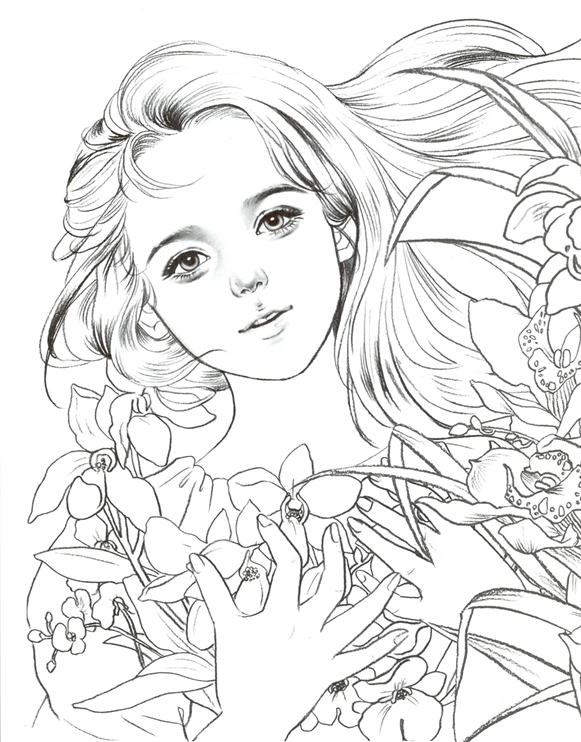 vampire coloring pages for adults | Fawn Girl Coloring Page by ... | 742x581