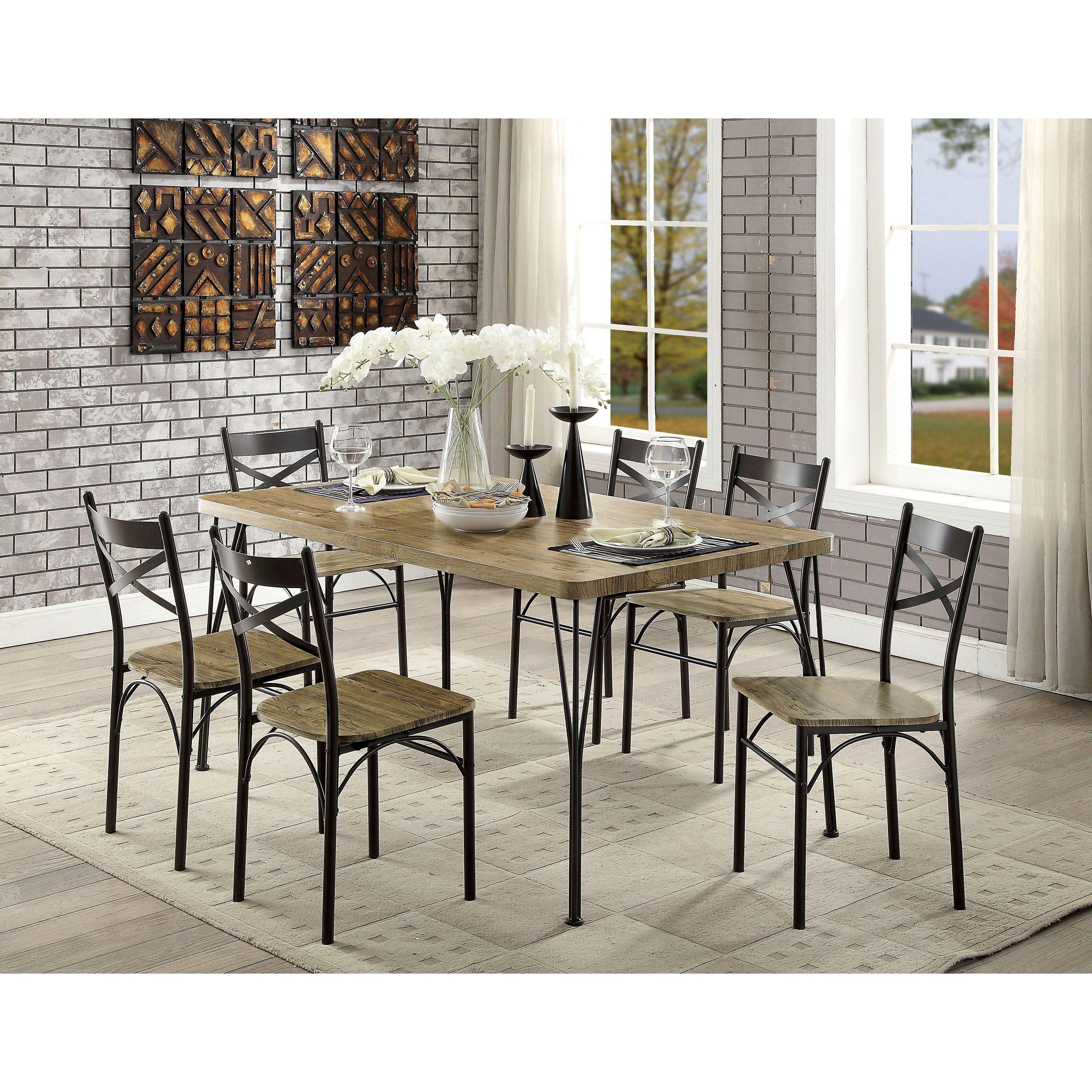 furniture of america milland 7 piece industrial farmhouse dining rh pinterest com