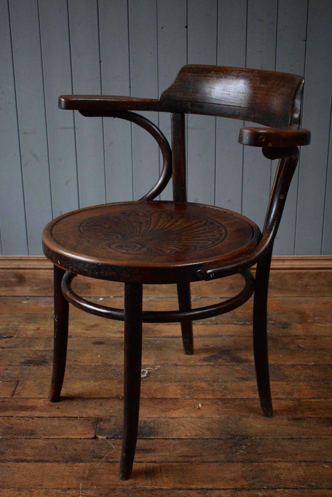Vintage Thonet Mid Century Bistro Cafe Kitchen Armchair Bent Wood