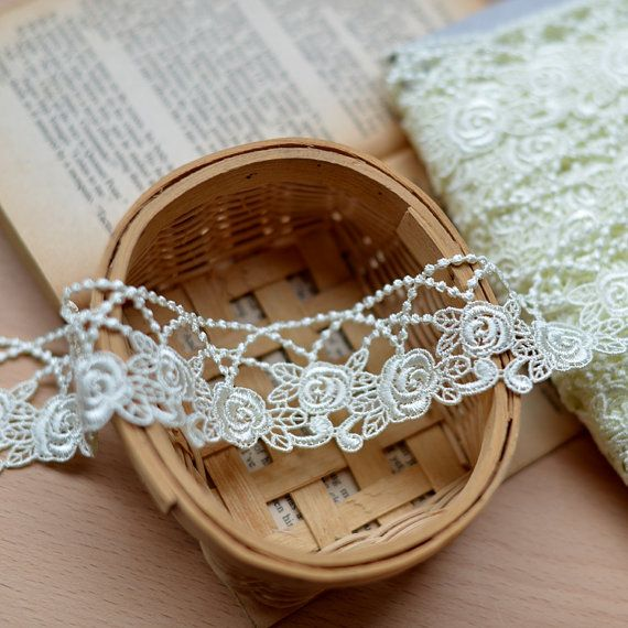 Light Yellow Venice Embroidery Lace Trim 4cm Width #dollunderware