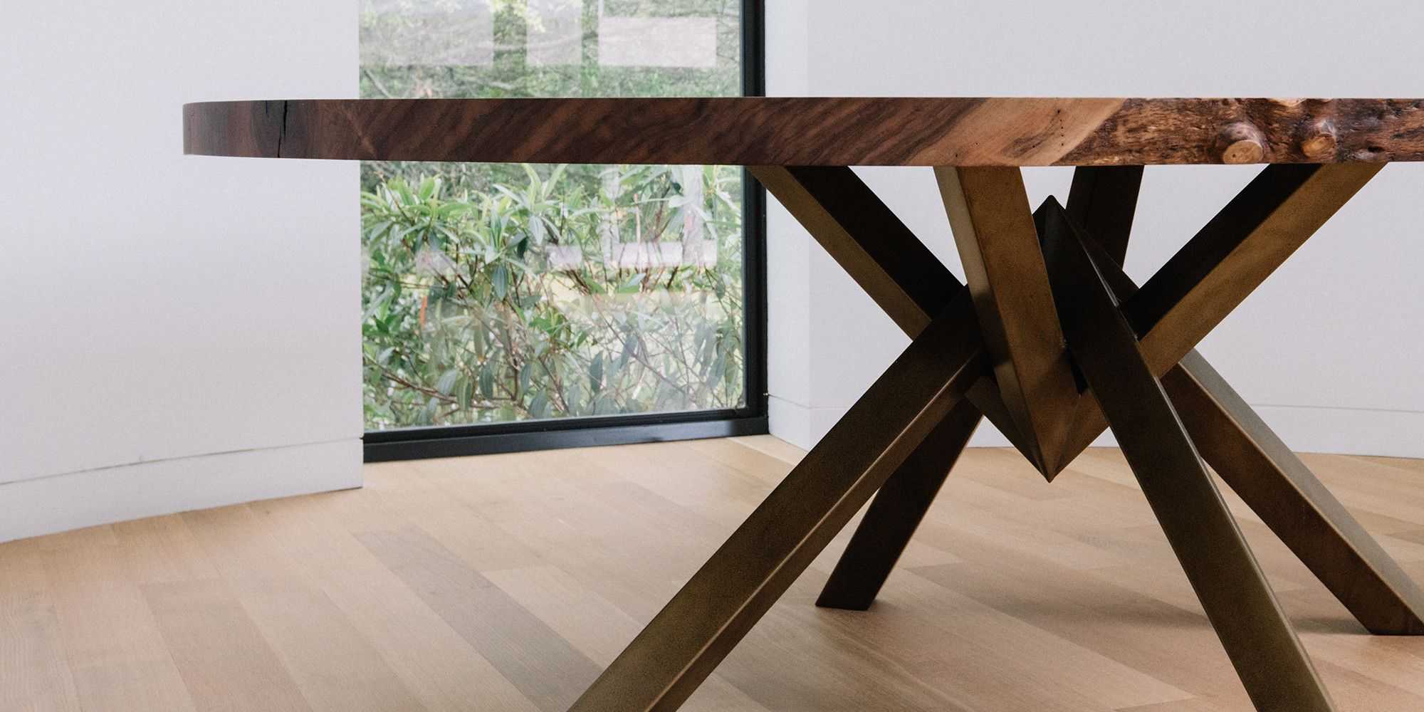 Delicieux Custom Walnut Dining Table With Brass Plated Steel Base. For A Residence In  South Tampa