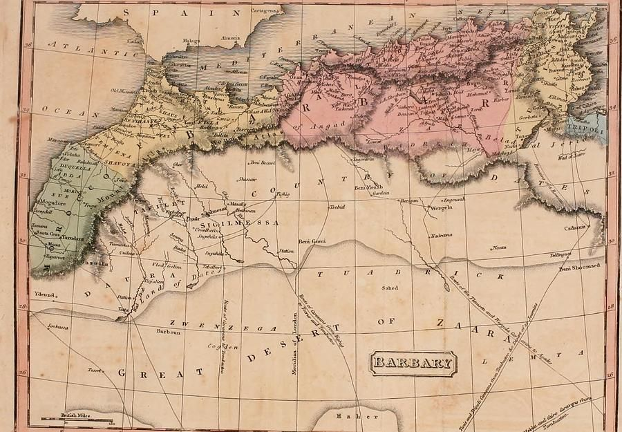Map Of The Barbary States Of North