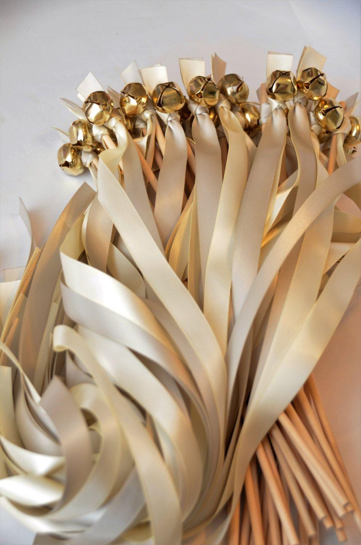 100 Ribbon Bell Wands Large Divinity Braid Send Off Bells Wedding