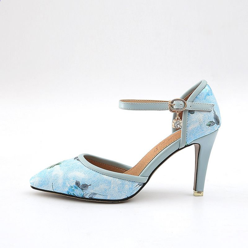 Plus Size Platform Floral Print Ankle Strap Sandals - BLUE Sale Shop Offer Outlet Store Locations Big Sale Cheap Price Clearance Finishline Sexy Sport 45z4EWb