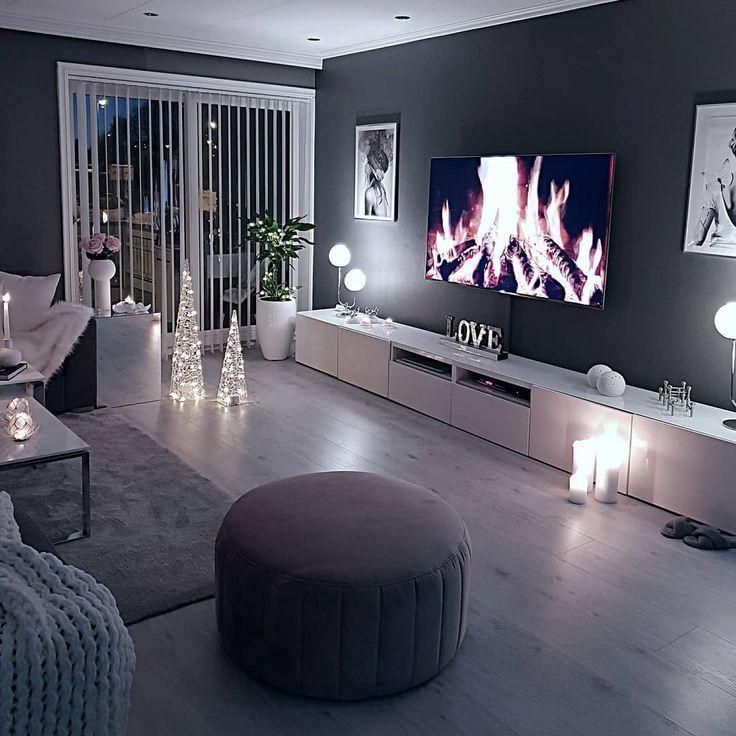 Gemütliches Wohnzimmer dunkle Wand grau taupe schwarz hell Sofa Holzboden , #Dunkle #Gemütli...