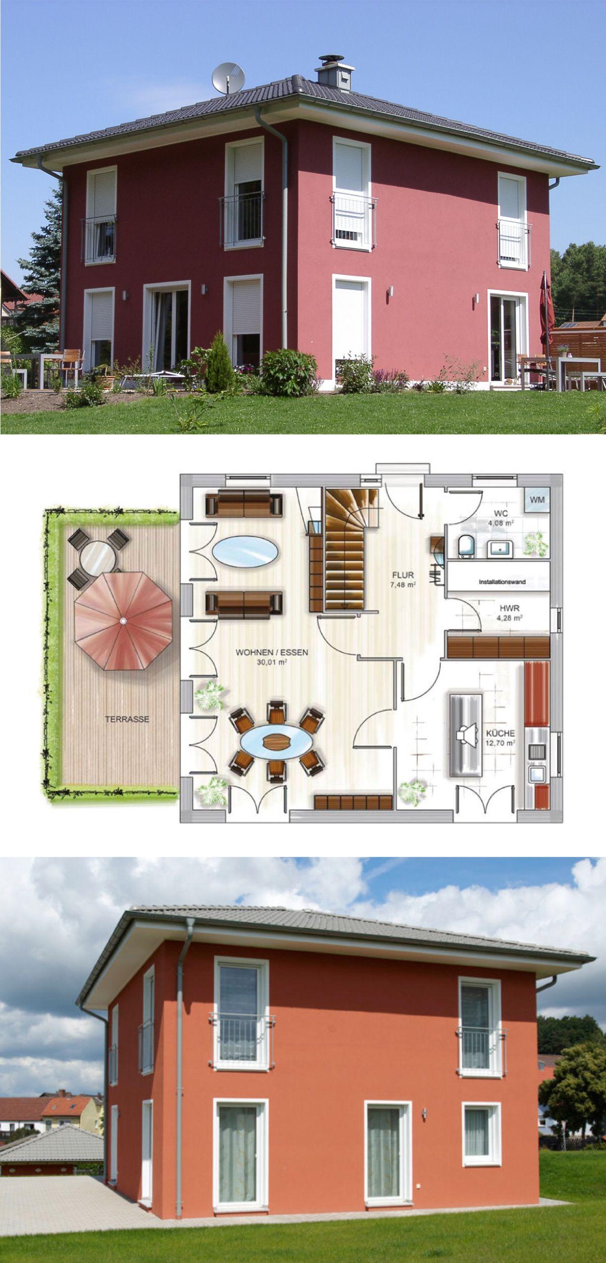 Stadtvilla modern als Energiesparhaus mit Walmdach & Fassade Putz ...