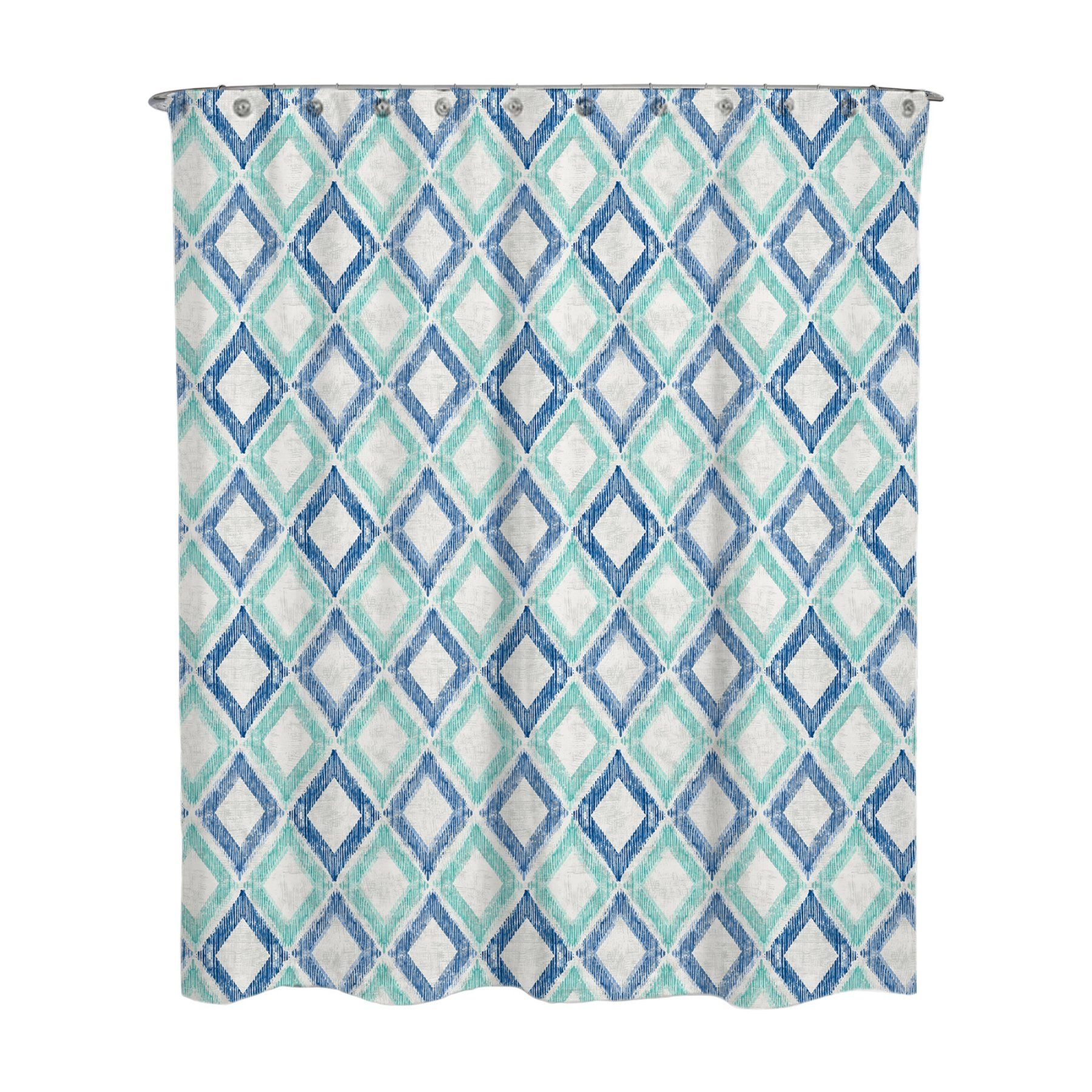 Geometric Green And Blue Apen Water Repellent Shower Curtain By A1