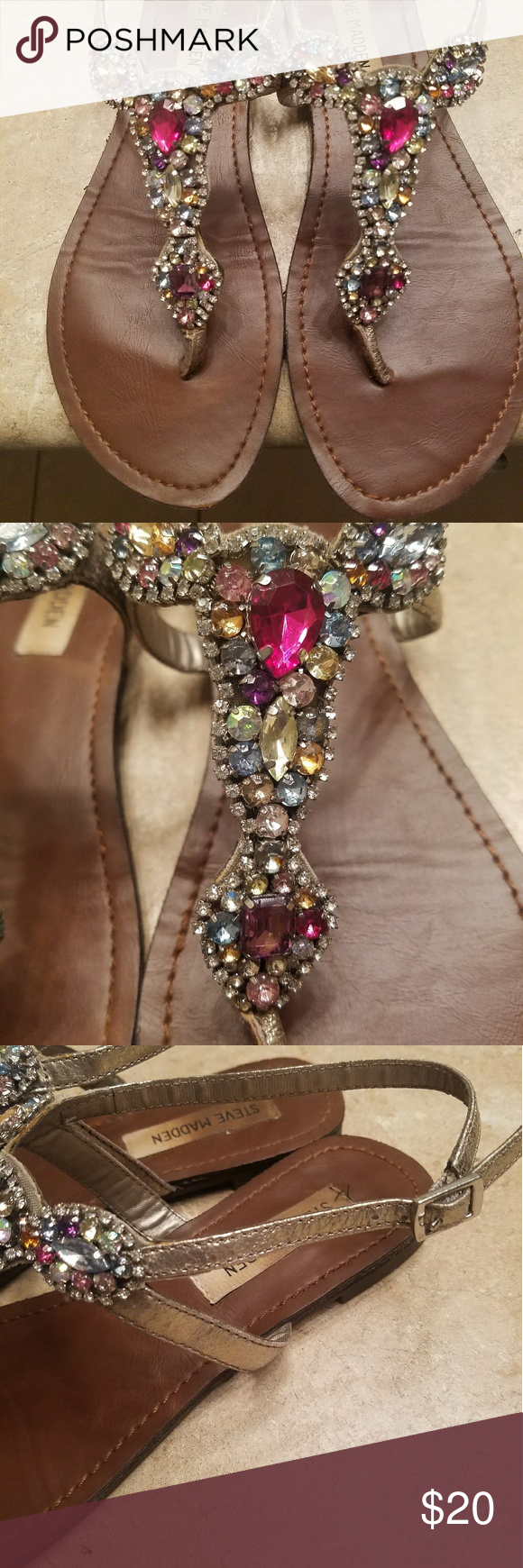 Steve Madden jeweled sandals Worn once for an outdoor wedding. Pewter in color with all colors adorning the toe. Smokefree Steve Madden Shoes Sandals