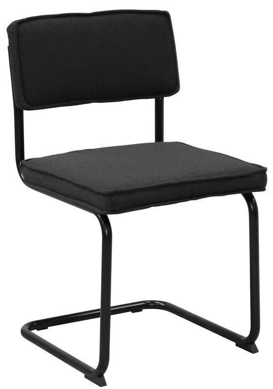 Sevilla+Spisebordsstol+-+Grå+-+Cool+retroinspireret+spisebordsstol+med+sort+polstret+sæde+og+ryglæn+samt+et+flot+sortlakeret+metalstel.+Sælges+i+pakker+med+4+stk.++Close-out+tilbudet+gælder+så+længe+lager+haves