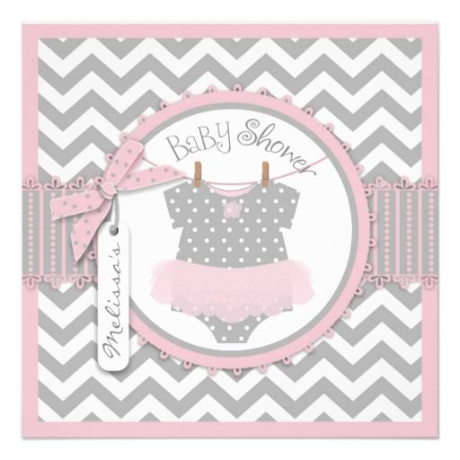 Pink Tutu and Chevron Print Baby Shower Personalized Announcement