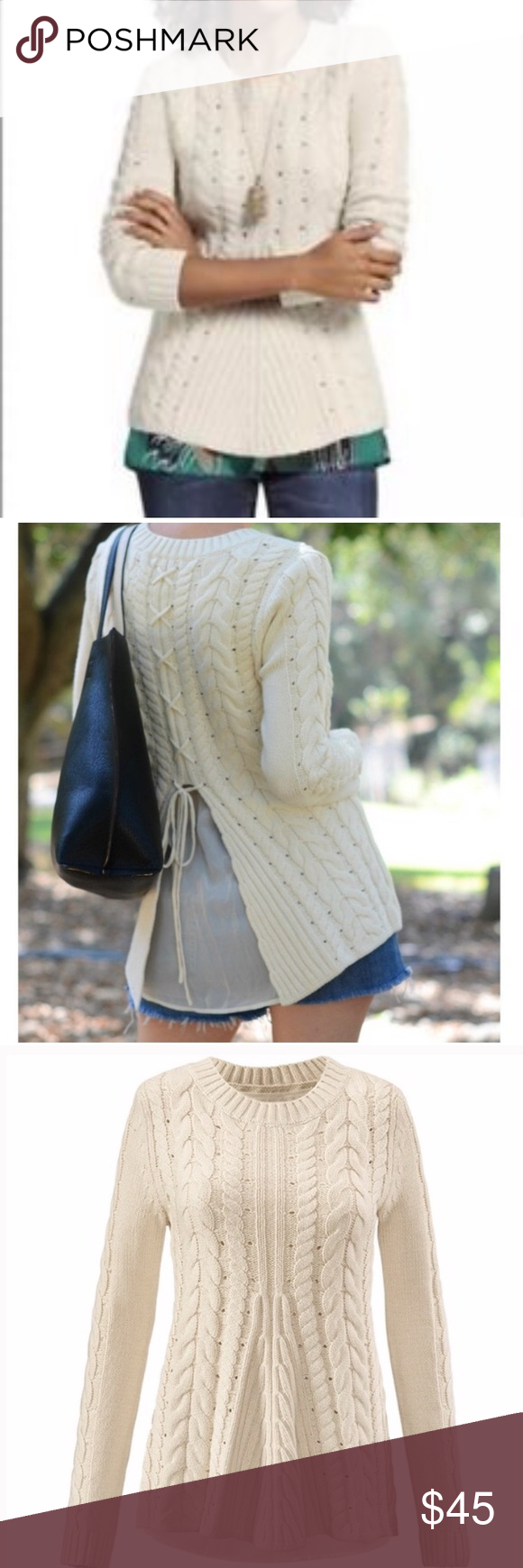 CAbi lace up sweater 3157 Cable Knit Oyster Ivory CAbi lace up sweater 3157 Cable  Knit 6dacbe1ac