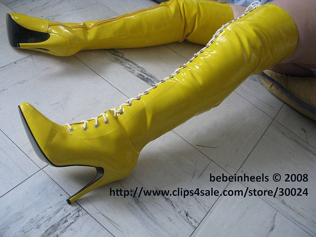Thigh High yellow boots | Flickr - Photo Sharing! | Boot Stomping ...