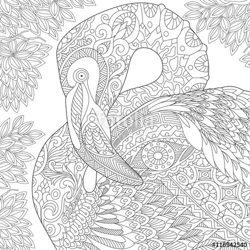 vector stylized flamingo bird among jungle foliage
