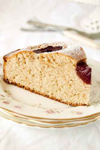 Plum and white rose tea cake