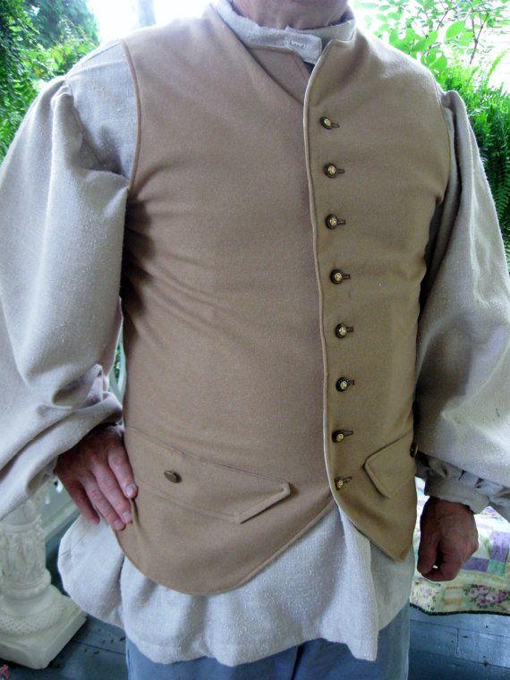Men's Colonial Pioneer Civil War Waistcoat Vest Costume ...