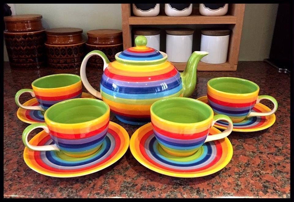Windhorse Rainbow Striped Ceramic Teapot And 4 Cups And Saucers Tea Coffee Set Home Furniture Diy Cookware Dining Tea Pots Ceramic Teapots Coffee Set