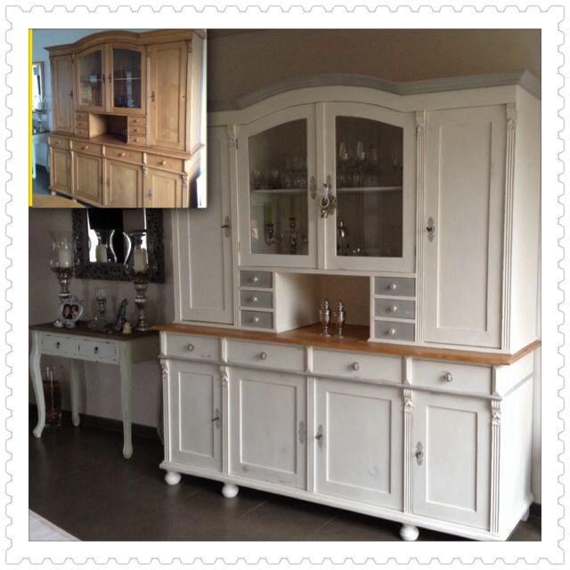 Paris Gray Kitchen Cabinets: Grenen Kast, Gerestyled Met Annie Sloan Chalk Paint Old White And Paris Grey. Clear Wax