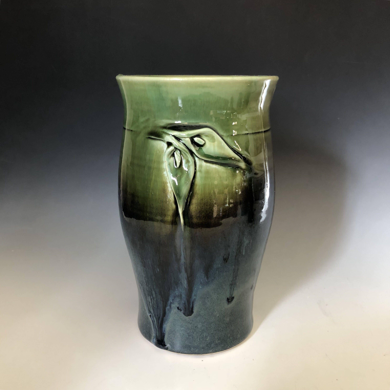 Pottery flower vase calla lily art deco wheel thrown hand pottery flower vase calla lily art deco wheel thrown hand sculpted large spoon jar reviewsmspy