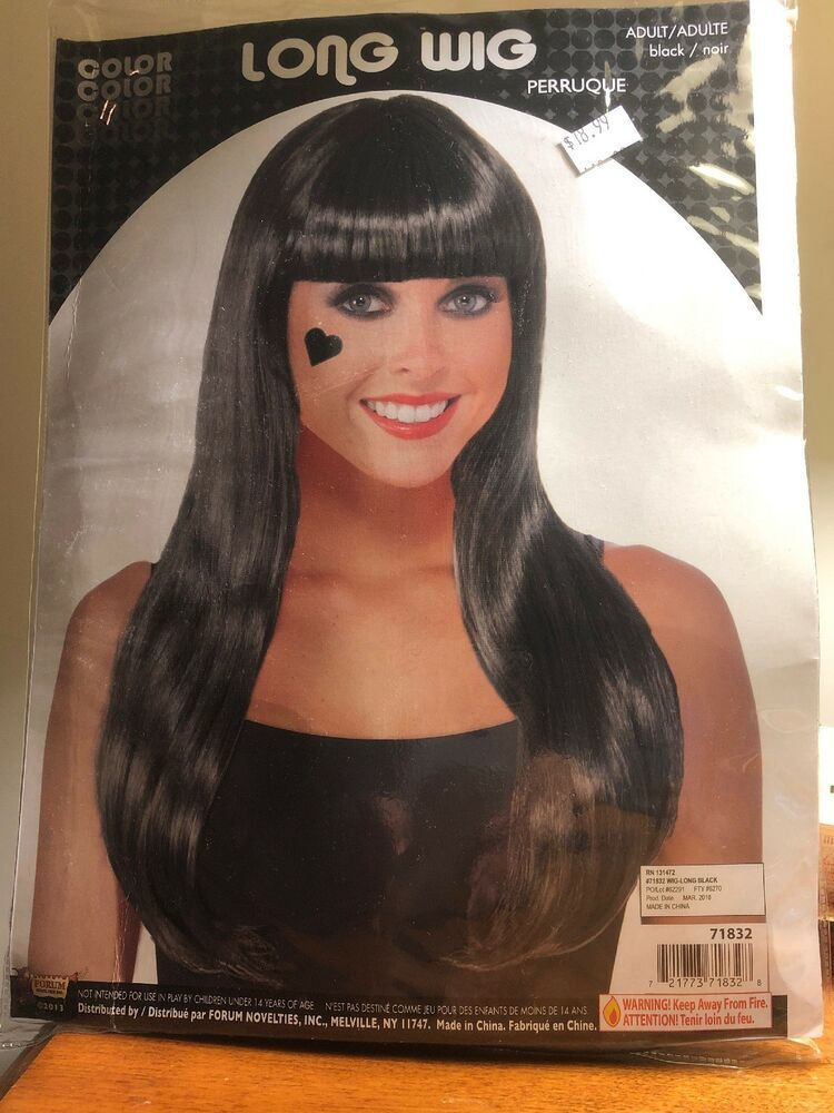 Long Straight Black Wig Hair w/ Bangs Costume Accessory