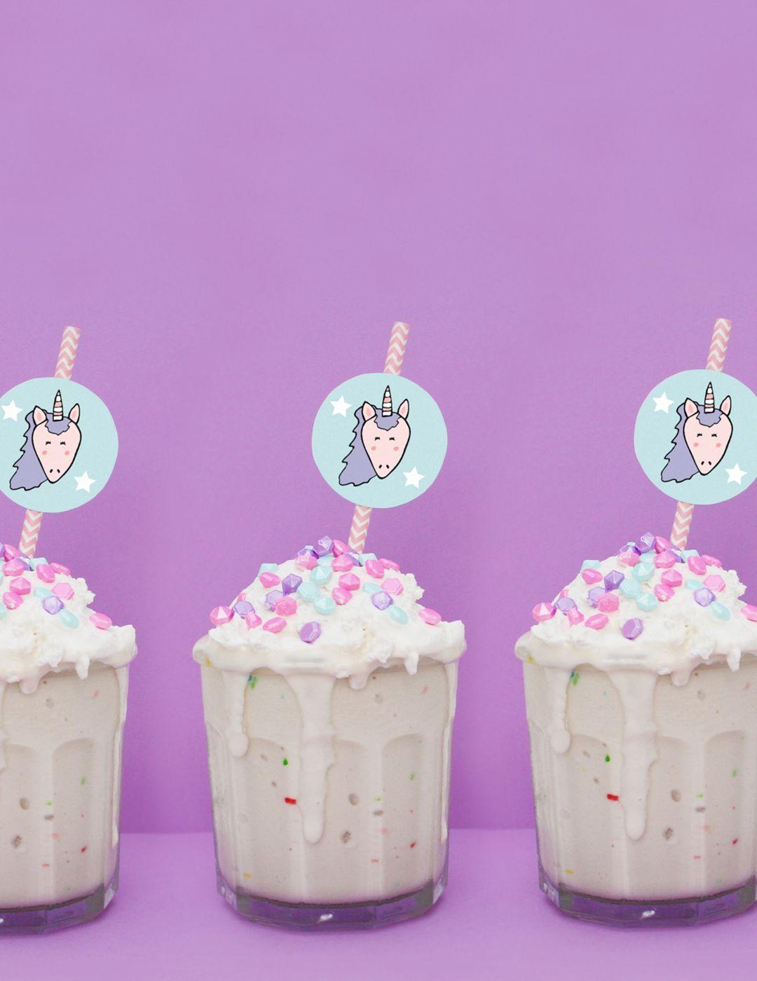 Birthday Cake Milkshake + Unicorn Straw Toppers (Free Printable!)